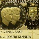 Guinea 1969 200 Francs John & Robert Kennedy~NGC Proof 69 UC~Highest~20k Minted~