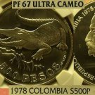 Colombia 1978 500 Pesos~Conservation~Crocodile~NGC Proof-67 UC~3,233 Minted~Fr/S