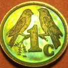 Rare South Africa 1992 Proof Cent~10,000 Minted~Sparrows~Rainbow Toned~Free Ship