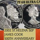 Saint Helena 2002 Silver 50 Pence~James Cook 500th Anniv~NGC PR-68 UC~Highest~FS