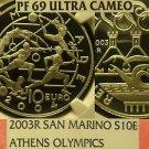 San Marino 2003-R 10 Euro NGC Proof-69 Ultra Cameo~Athen Olympics~Highest Pop-1~