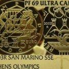 San Marino 2003-R 5 Euro NGC Proof-69 Ultra Cameo~Athen Olympics~Highest~Fr/Shi