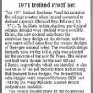1971 Ireland 6 Coin Single Page C.O.A. And Document Set~Free Shipping