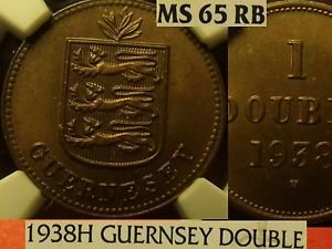 Guernsey 1938-H Double NGC MS-65 RB~Rare 96,000 Minted~Free Shipping