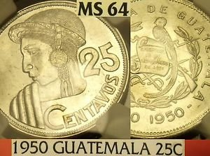Guatemala 1950 25 Centavos~NGC MS-64~Rare 81k Minted~POP=1~1st Year Ever~Free Sh