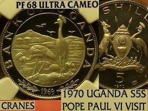 Uganda 1970 5 Shillings~RARE 2,167 Minted~NGC PF-68 UC~Highest~Pope Paul Visit