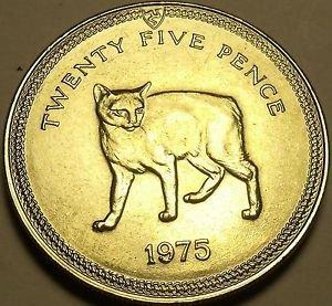 Gem Unc Isle Of Man 1975 25 Pence~Manx Cat~Rare 35,000 Minted~Free Shipping