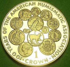 Cameo Proof Isle Of Man 1991 Crown~100th Anniv American Numismatic Association