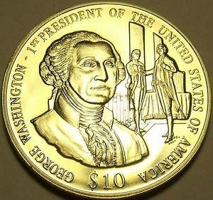 Gem Unc Liberia 2003 $10~George Washington 1st President Of The United States~FS