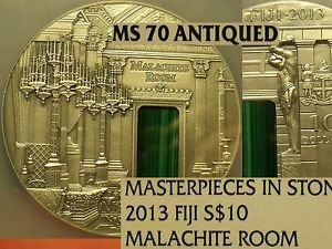 Fiji 2013 $10 RARE Malachite Room~Masterpieces In Stone~NGC MS-70 Antiqued~Best~