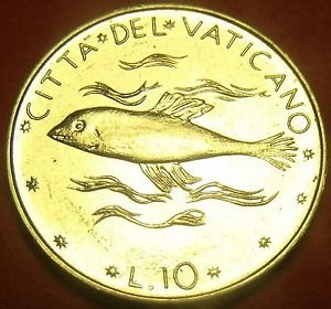 Rare Gem Unc Vatican 1970 10 Lire~Fish~Only 100,000 Minted~Free Shipping