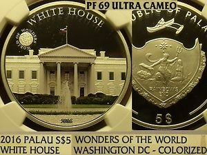 Palau Colorized 2016 White House $5~Wonders Of The World~NGC PF-69 UC~Pop=2