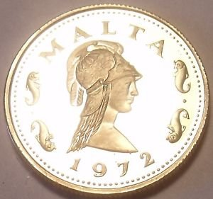 Rare Cameo Proof Malta 1972 2 Cents~Queen Of The Amazons~Only 13,000 Minted~Fr/S