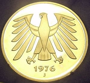 Germany 1976-J 5 Mark Proof~43,000 Minted~Awesome Eagle~Free Shipping