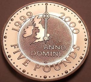 Great Britain 2000 5 Pounds Proof~Map With Greenwitch Meridian~Prologue~Free Shi