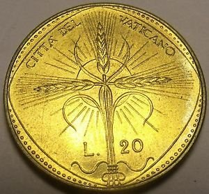 Rare Gem Unc Vatican 1968 20 Lire~Radiant Cross With Wheat Ears~Free Shipping