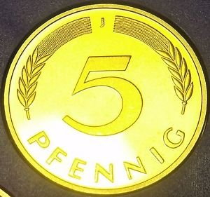 Germany 1976-J 5 Pfennig Proof~Only 43,000 Minted~Minted In Hamburg~Free Ship