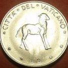 Rare Gem Unc Vatican 1970 2 Lire~Lamb Standing~100,000 Minted~Free Shipping