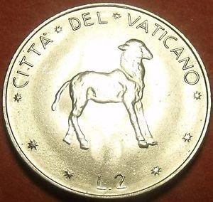 Rare Gem Unc Vatican 1972 2 Lire~Lamb Standing~110,000 Minted~Free Shipping