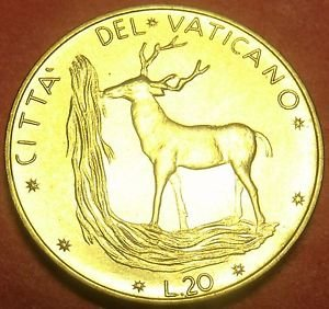 Rare Gem Unc Vatican 1972 20 Lire~Red Deer~Only 110,000 Minted~Free Shipping