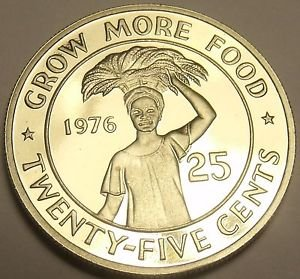 Proof Liberia 1976 F.A.O. 25 Cents Proof~Rare Only 2,131 Minted~Grow Food~Fr/Shi