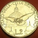Rare Unc Vatican 1950 2 Lire~Holy Year~Dove & St. Peters Basilica Dome~Free Ship