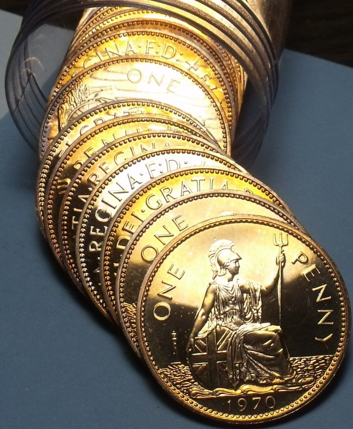 Incredible Roll (20) Great Britain 1970 Proof Large Pennys~Britianna Seated~Fr/S