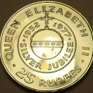Seychelles 1977 Silver Proof 25 Rupees~RARE~Queens Silver Jubilee~15k Minted~F/S