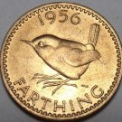 Rare Gem Unc Great Britain 1956 Farthing~Wren~Excellent~Key Date~Free Shipping