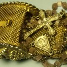 Very Old Vintage Antique Minature Rosary Beads & Gold Colored Mesh Case~Free Shi