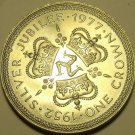 Gem Unc Isle Of Man 1977 Crown~Silver Jubilee~Triskeles In Center Of Crowns~Fr/S