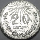 Mexico 1942 20 Centavos Gem Unc Silver~Free Shipping