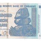 Zimbabwe 100 Trillion Dollars Series AA-2008 Pick-91 Unc~Free Shipping