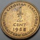 British Carribean Territories 1958 Half Cent Rare Unc~Key Date~Free Shipping