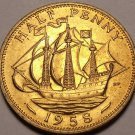 Unc Great Britain 1958 Half Penny~The Golden Hind~Fantastic~Free Shipping