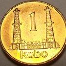 Nigeria 1991 Kobo~Gem Unc~Oil Derricks~Last Year Ever Minted~Free Shipping