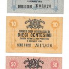 Italy 5-10-50 Centesimi Military Issue World War I Notes 1918~Pick M1-M2-M3~Rare