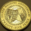 Gem Unc Isle Of Man 1972 25 Pence~25th Wedding Anniversary~70,000 Minted~Fr/Ship
