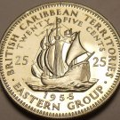 East Caribbean Islands 1955 25 Cents Proof~Rare 2,000 Minted~Free Shipping