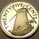 Barbados 1980 25 Cents Rare Proof~2,111 Minted~Morgan Lewis Sugar Mill~Free Ship