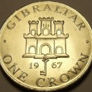 Gibraltar 1967 Crown~Unc~1st Year Ever Minted~Free Shipping