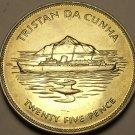 Tristan Da Cunha 1977 25 Pence~Boat & Rock~Queens Silver Jubilee~Rare 50k Minted