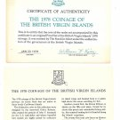 1978 British Virgin Islands 6 Coin 2 Piece C.O.A. And Document Set~No Coins~Fr/S