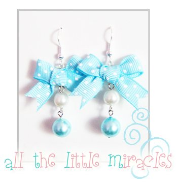 J22: Blue and White Polka Dot Dangles
