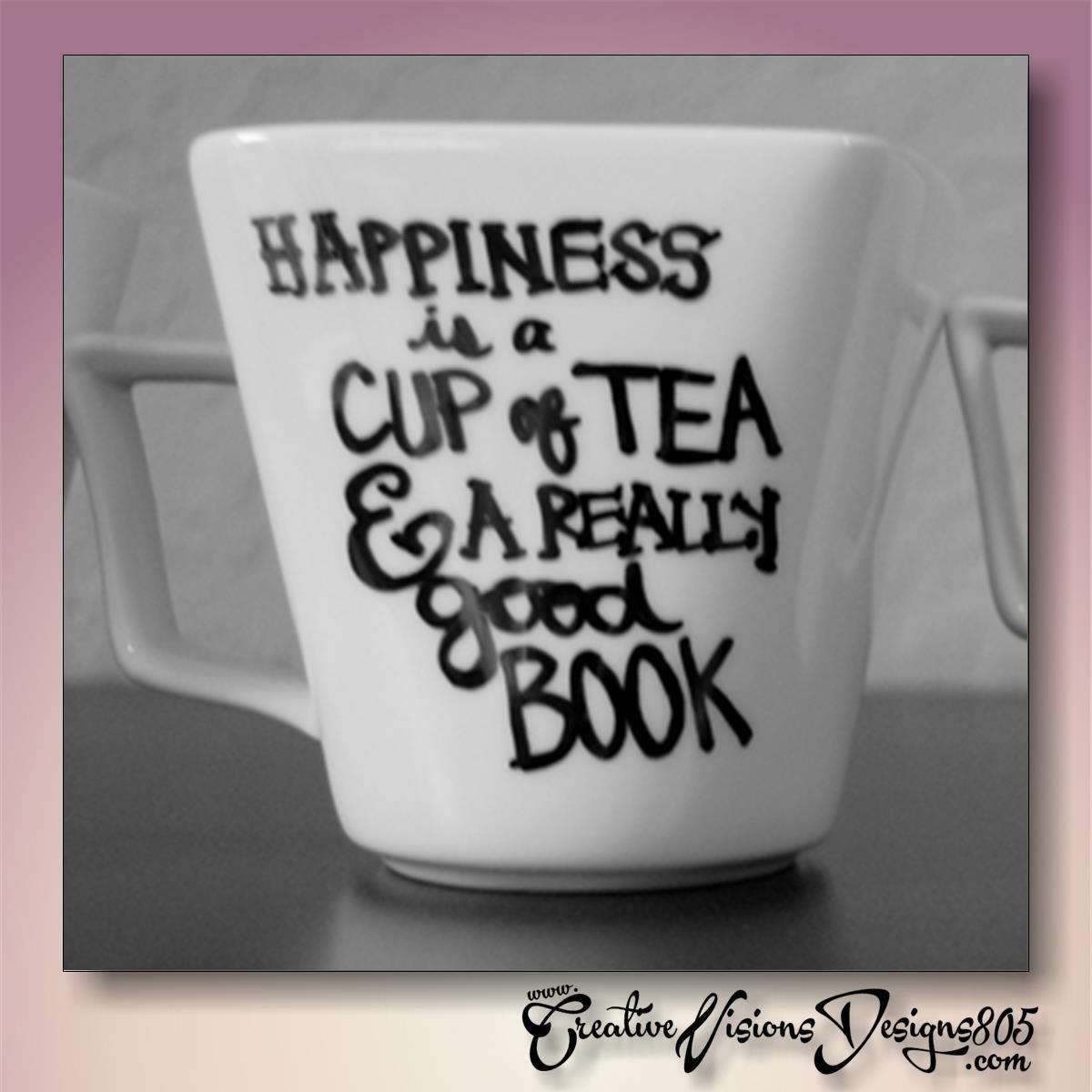 HAPPINESS IS.. - hand decorated coffee mug