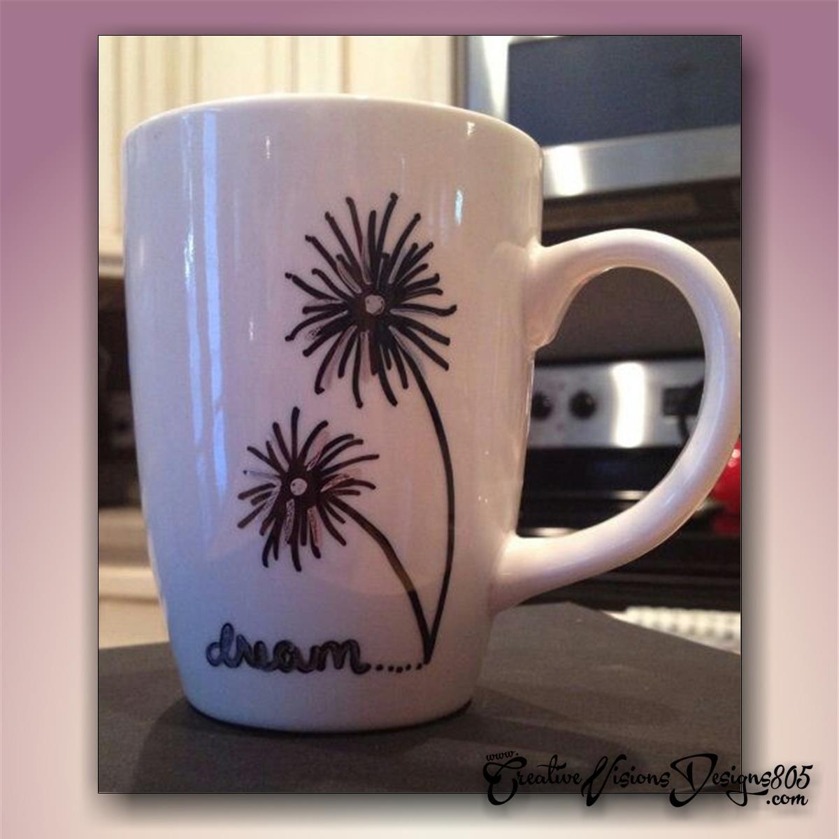 DANDILION - hand decorated coffee mug