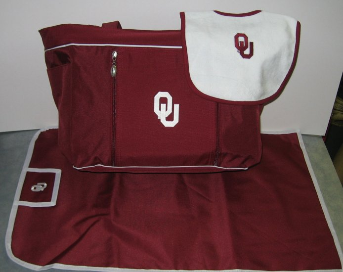 Oklahoma Sooners baby diaper bag set