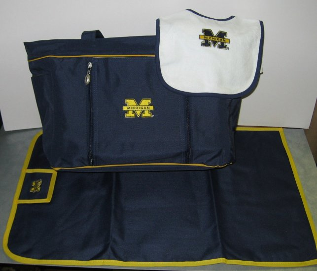 Michigan Wolverines baby diaper bag set