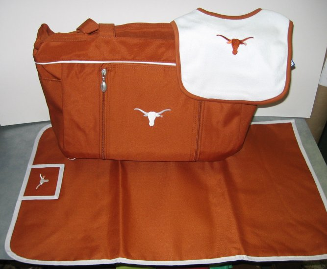 Texas Longhorns baby diaper bag set