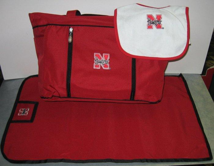 Nebraska Cornhuskers baby diaper bag set